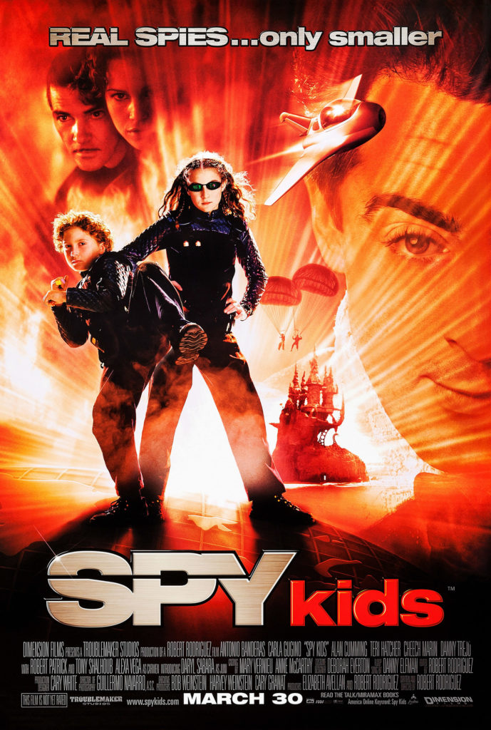 SPY KIDS, US poster, front from left: Daryl Sabara, Alexa Vega, rear from left: Antonio Banderas, Carla Gugino, Alan Cumming, 2001, © Miramax/courtesy Everett Collection